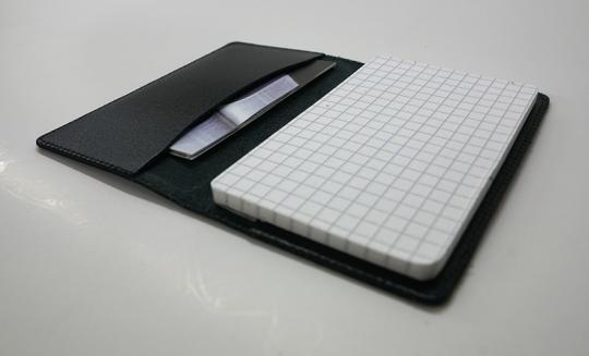 Visitenkartenmäppchen (Leder) mit Notizblock SCHWARZ
